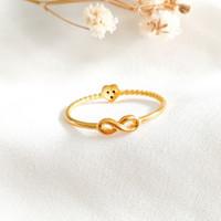 Cincin Hati Infinity permata Hitam Wanita Korea Ring Gold Emas asli