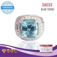 Cincin Batu Permata Blue Topaz Swiss