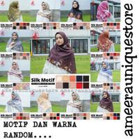 Umama Silk Motif Sutera Satin Segi Empat Print Jilbab SegiEmpat Square