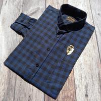 Kemeja Flanel Flannel Pria Check Navy Kantor Kerja Slimfit Baju Murah