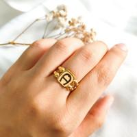 Cincin Kotak Branded jewellery Wanita Korea woman Ring Gold Emas asli