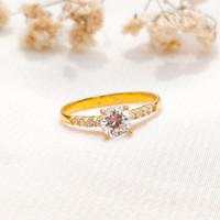 Cincin permata putih jejer jewellery Wanita Korea Ring Gold Emas asli