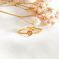Cincin Hati Infinity permata Putih Wanita Korea Ring Gold Emas asli