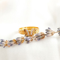Cincin Permata putih Wanita Kupukupu Korea butterfly Gold Emas asli