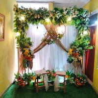 sewa backdrop akad nikah, lamaran, wedding nuansa floral 2.2meter