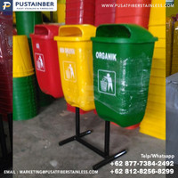 tempat sampah fiber oval organik anorganik b3 50 liter dengan tiang