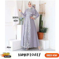 GAMIS PESTA MEWAH SONYA KOMBINASI BORDIR DRESS MUSLIM WUDHU FRIENDLY - Abu-abu