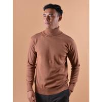 Sweater Rajut Pria Gomuda Signature Roll Neck - Brown Sugar - Brown Sugar, L