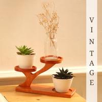 VINTAGE Vase Holder Kayu Dekorasi Ruangan