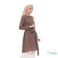 Atasan Muslim Wanita | Saffana Tunik Cokelat | S M L XL | Tazkia Hijab