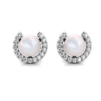 Cresent Pearl Earrings - Anting Crystal Swarovski by Her Jewellery