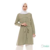 Atasan Muslim Wanita | Saffana Tunik Hijau | S M L XL | Tazkia Hijab