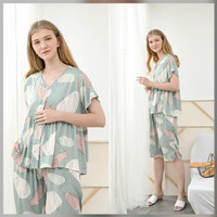Runa Set in Calm Green - Sleepwear / Piyama Baju Tidur Rayon by RAHA