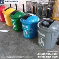 tempat sampah fiber bulat 4 warna organik anorganik b3 reduce 50 liter