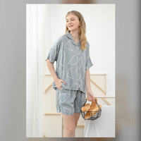 Sadie Set in Mint Abstract - Sleepwear / Piyama Baju Tidur Rayon RAHA