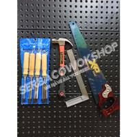 Paket Alat Tukang Palu Fiber-Pahat Set Kayu-Sikumeter-Gergaji Kayu
