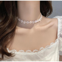 Kalung Choker Wanita Fashion Korea Berlian Imitasi White Wedding