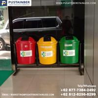 tempat sampah fiber bulat organik anorganik b3 50 liter