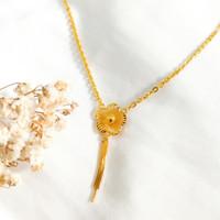 flower Necklace Hadiah Pacar Kalung Wanita bunga rumbai Gold Emas asli