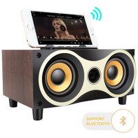 TOPROAD Portable Bluetooth Speaker Subwoofer FM Radio Wood Design