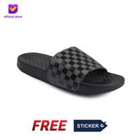 Sandal Pria Slide Footstep Footwear - Hexa Black Grey