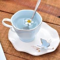 gelas keramik burung/kupu kupu