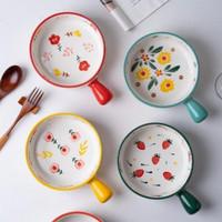 Piring Keramik gaya Nordic dengan Gagang