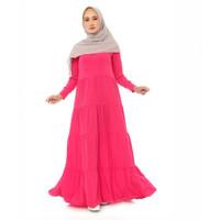 Gamis syari Dress muslimah - Babydoll Jersey - Merah Muda