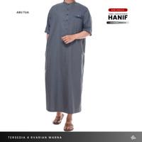 Jubah Gamis Pria Lengan Pendek Motif Kombinasi Hanif Spunpoly Premium