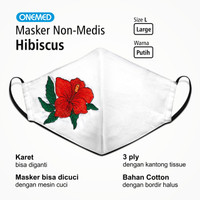 Masker Kain Bunga Hibiscus Onemed 3Ply