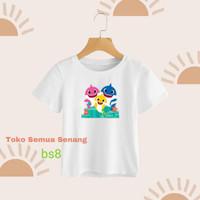 Kaos anak / bs8 / Baby Shark / kaoscombed / kaoslucu / baju printing - Abu-abu, S