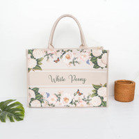 Tote Bag Kanvas White Peony Collection by Seruni Living - Creme