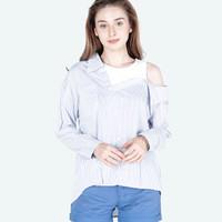 Kemeja Wanita / Stripe Mosey White Blue 24452D5WL - Ninety Degrees