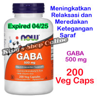 GABA 500 mg, Now Foods ( USA PRODUCT ) 200 Veg Capsules