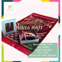 Gift Box Souvenir Sajadah Turki Besar Tebal Free Tasbih untuk Hadiah