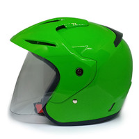 EROE M1 Helm SNI Open Face, Warna GAUL Solid, Clear Coat - Lime Green, L 59-60cm