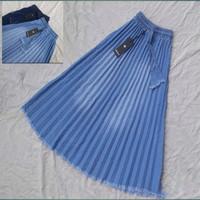 Rok plisket Jean Anak Tanggung - Ice blue, 8-9 tahun