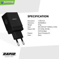 ADAPTOR RAPID 1 USB PORT QC 3.0 18W