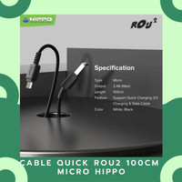 DATA & CHARGING CABLE QUICK ROU2 100CM MICRO TRAY/20