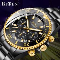 BIDEN jam tangan pria Mewah Bisnis Tali stainless steel Tahan Air Jam