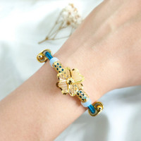 Gelang Pandora Bunga Cristal Wanita Korea Hadiah Teman Gold Emas asli