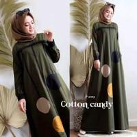 Gamis wanita muslim/COTTON CANDI/Long dress/gamis murah - Army, S