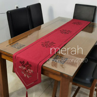 TAPLAK MEJA TAMU MINIMALIS MODERN TABLE RUNNER UK 35x250cm - Merah