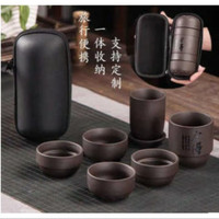 Cangkir chinese teh set travel portable free pouch bag