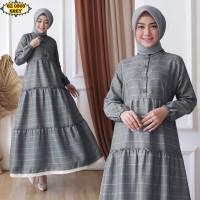 Gamis Katun Zara GZ0303 Grey/ Gamis Remaja/ Gamis Kotak/ Gamis Renda