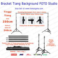 Tripod Stand 3x2.5 M Back Ground Backdrop Tiang Kain Foto Green Screen