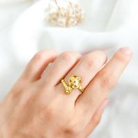 Cincin wanita Bulat Bunga Hadiah Teman atau Pacar Ring Gold Emas asli