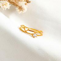 Cincin Wanita Hati Pemata Putih Lilit Ring Love korea Gold Emas asli