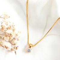 Kalung Wanita Soliter Liontin Permata Putih Hadiah Pacar Emas asli