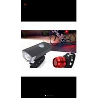 Lampu Led Set Sepeda Depan Putih + Belakang Merah